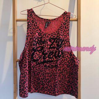 ZOO YORK red leopard long tank top scoop neck animal print summer size 12