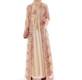 Preloved Sequin Cardigan Abaya in Gold (only the outer wear ya)