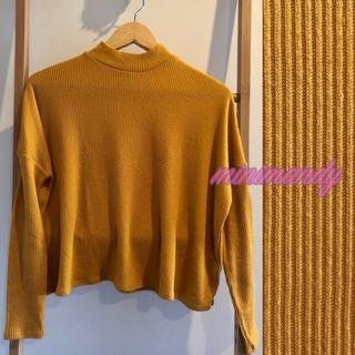 H&M mustard yellow high neck knitted top light jumper cropped size S