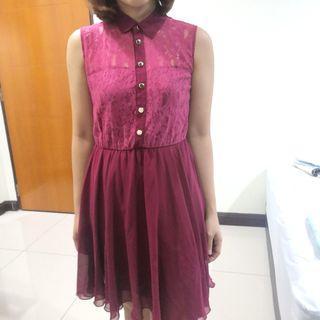 Red lase mash dress