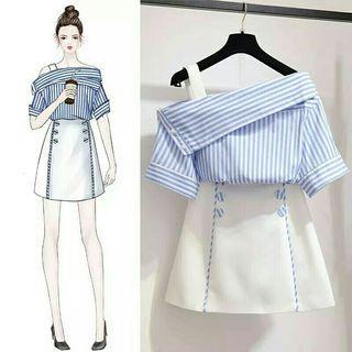 [Pre-Order] Women's Set Vertical Striped Slash Neck Sexy Blouse A-Line Skirt Suit Set