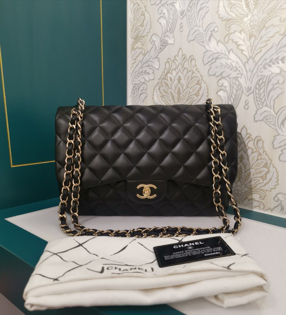 3435709d6695 18 Brand New Chanel Jumbo Classic Double Flap Black Lambskin with ...