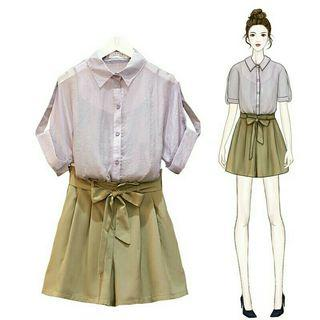 [Pre-Order] Summer Fashion Women Green Three piece set Casual Tops + Shorts Female Office Lady Suit Women's 3 Piece Set