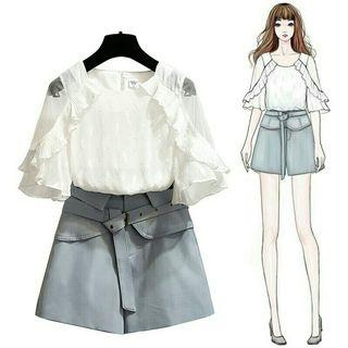[Pre-Order] Summer Women two Casual Ruffled Lace Flare Sleeve Tops + Shorts Zipper Sashes Pockets 2 Piece Set
