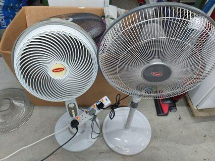 """Two items at $100 Europace EJF125P 12"""" Stand Jet Turbine Fan retail:$199.90  EuropAce ESF716S Stand Fan without Remote Control 16inches retail:$56.15"""