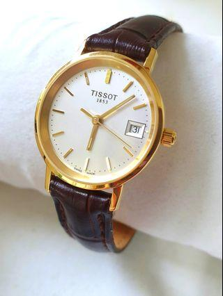 Tissot Goldrun Ladies - 18K Gold Quartz -Cert Box Warranty!