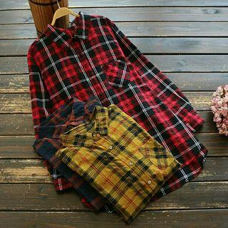 [Pre-Order] Spring Women Loose Turn-down Collar Casual Plaid Cotton Long Sleeve Blouse Mori Girl Tops