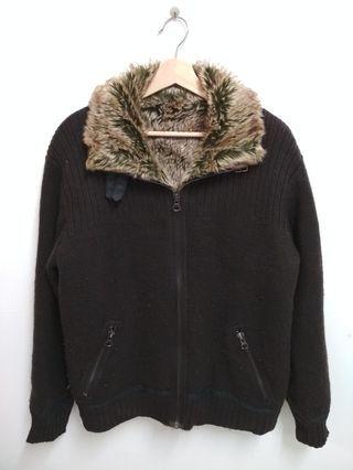 Fur knitted zip jacket