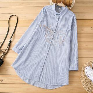 [Pre-Order] Spring and Autumn Women Loose Cotton Longe Sleeve Embroidered Shirt Mori Girl Striped Blouse