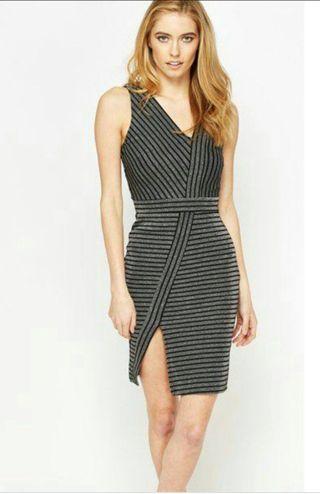 Miss Selfridge Lurex Stripe Asymmetric Dress