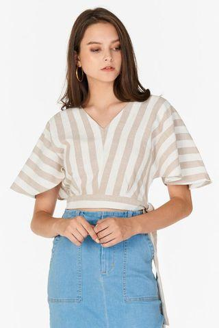 🚚 TCL Roleen Striped Linen Top Khaki