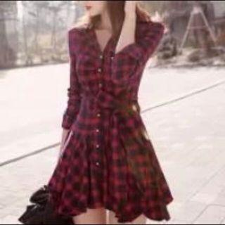 Red Checkered Ribbon Button Dress