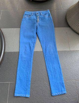Blue Button Up Skinny High Waist Jeans