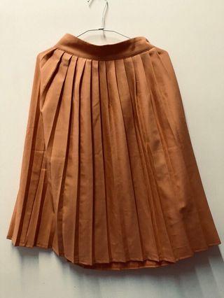 橘色百摺長裙