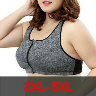 [Pre-Order] Plus Size Top Women Zipper Sports Bra Underwear Shockproof Push Up Gym Fitness Athletic Running Yoga Sport Bra