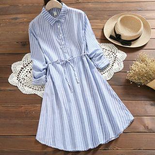 [Pre-Order] Mori Girl Spring Autumn Women Shirt Dress Turn-Down Collar Blue Stripe Vintage Irregular Dress 3/4 Sleeve Cotton Linen Dress