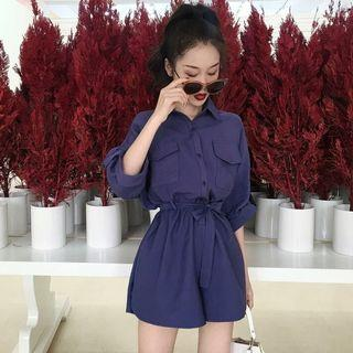 [Pre-Order] Summer Elegant Romper Women Fashion Belted Office Overalls Casual Long Sleeve Jumpsuit Wide Leg Shorts Playsuits