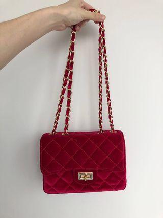 韓版小包紅色小香風菱格包绒布小方包
