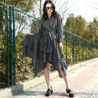 [Pre-Order] Spring Summer Lapel Long Sleeve Black Striped Printed Hem Irregular Bandage Dress