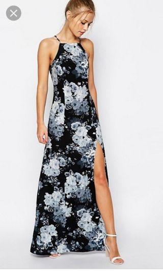 ASOS TALL Mono Floral High Neck Maxi Dress