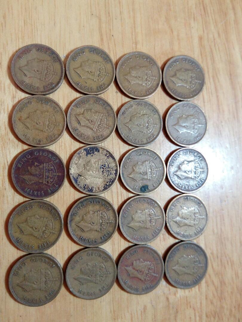 1949、1950香港男皇頭五仙鬥令20枚僅售100蚊