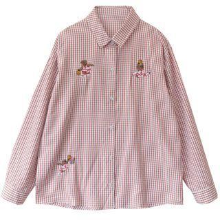 [全場批發價現貨]三隻熊刺繡格子襯衫(紅)