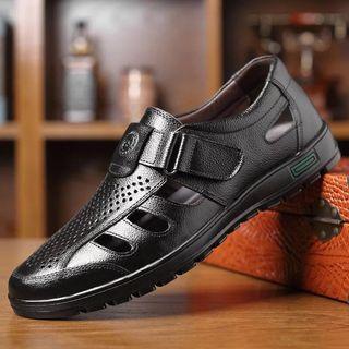 🚚 男士真皮透氣皮鞋涼鞋