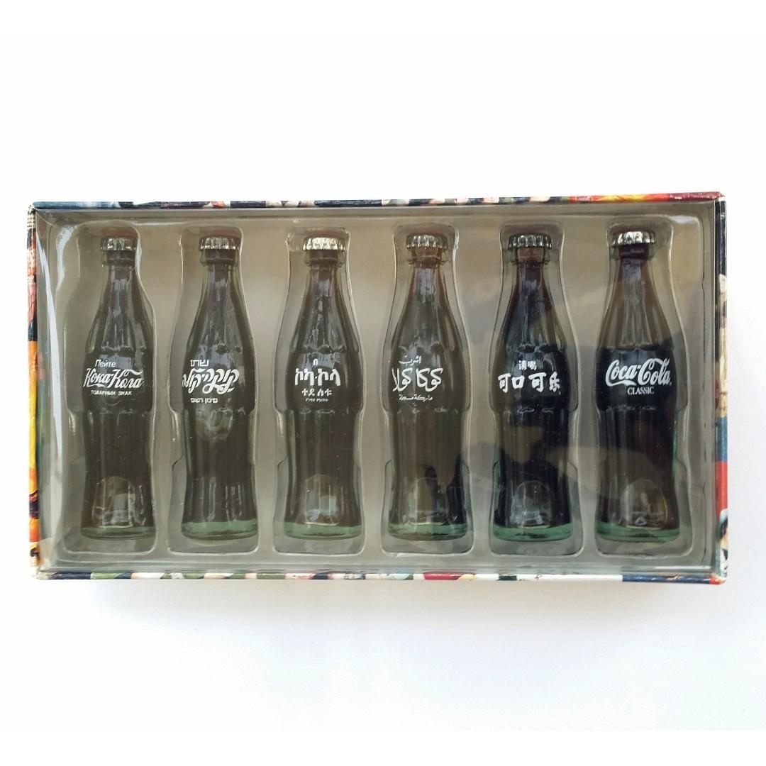 1999 可口可樂 美版6國文字迷你樽 International Coca-Cola Mini Bottles