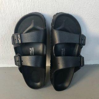 Black Double Strap Sandals / Slippers
