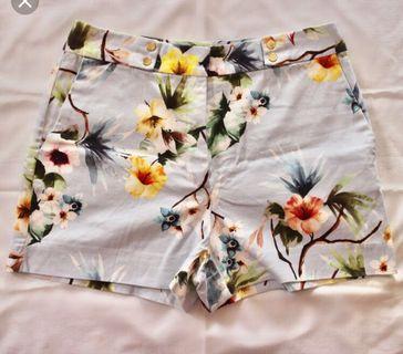Zara high waisted floral shorts