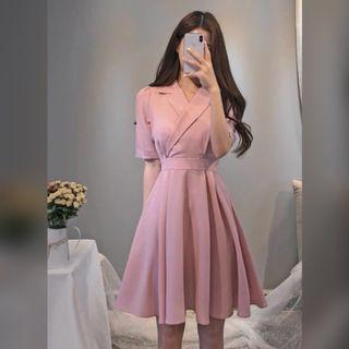 ✨全新✨v領收腰粉色洋裝