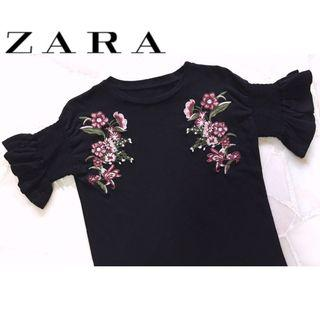 ✨BN Floral Embroidery Embroidered Top, Black with Pink Flowers, Size M Fits UK 8/10, Size S/M