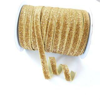 Gold Glitter Elastic Ribbon