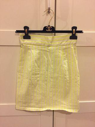 Japan Mercury Duo neon yellow stripe pencil skirt m size 半截裙