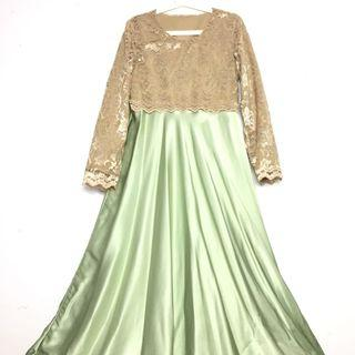 Green Dress Satin Silk Dinner Dress Lace Baju Raya One Piece Skirt