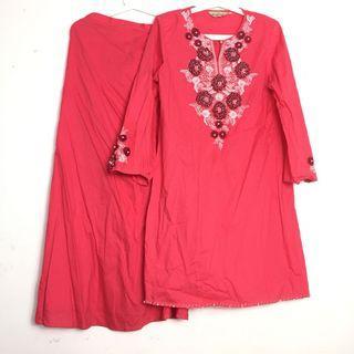 Hot Pink Baju Kurung Moden Manik Embellishment Baju Raya Plus Size