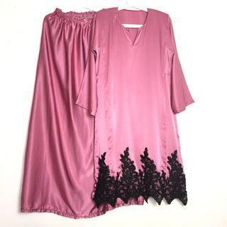 Baju Kurung Purple Pink Lace Black Baju Kurung Moden Baju Raya Trendy