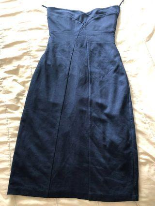 Mango Suit Navy tube bustier office work dress size S/XS