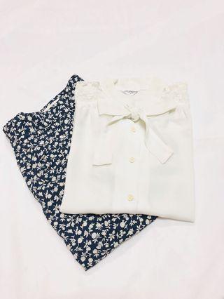 [C]日本購入古著日本製春夏款短袖復古綁蝴蝶結鈕扣恤衫上衣返工衫Vintage blouse