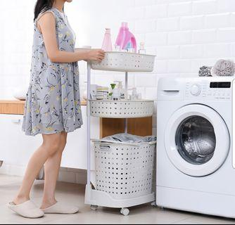 Upgraded 3-Tier Laundry Basket With Wheels / 5 Colours