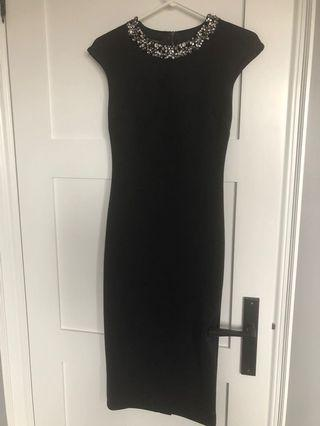 Ted baker black fitted dress size 4 (1)