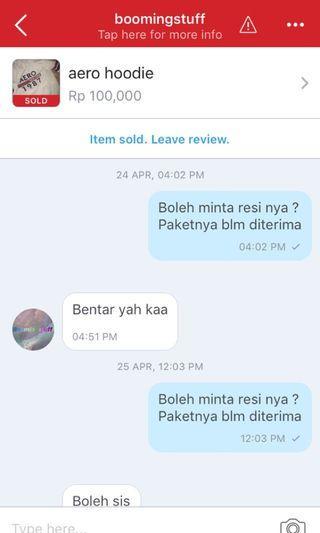 Bukti chatting dengan si penipu