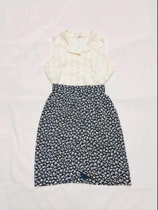 [G]日本購入古著春夏款復古深藍色碎花八字形裙腳不規則半身裙半截裙Dress
