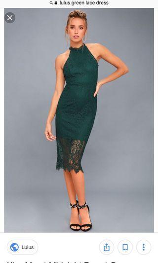 Lulus green lace dress.