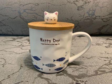 陶瓷杯 連匙羹 ceramic cup kitty cup lid teaspoon