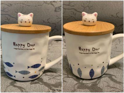 全新有盒 多貨 陶瓷杯 連匙羹 ceramic cup kitty cup lid teaspoon 貓 魚
