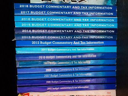 Budget Commentary and Tax Information Booklet Books 2005 - 2018 by MIA MICPA CTIM for accountant teacher student