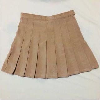 卡其百褶裙(韓製)