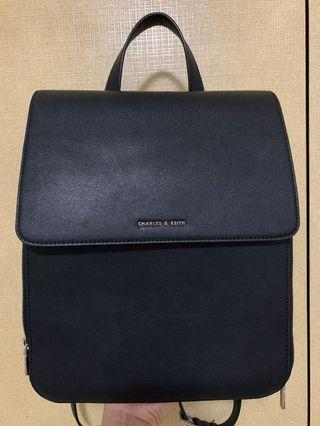 🚚 Charles & Keith Leather Backpack (Black)
