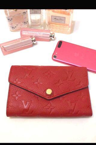 LV Louis Vuitton 中夾 皮夾 短夾 錢包紅色 90成新 (真品)
